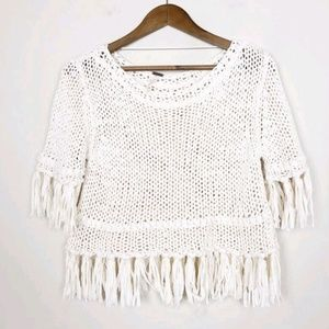 3/$30 Free People Ivory Knit Cropped Sweater 439
